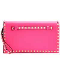 Valentino Rockstud Leather Clutch - Lyst