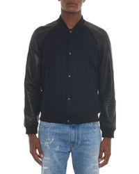 Vince Leather-Contrast Wool-Blend Bomber Jacket - Black