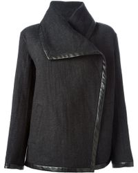 Ralph Lauren Black Trimmed Oversized Collar Jacket - Lyst