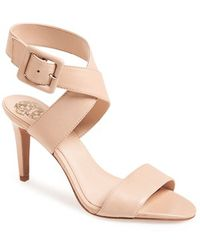 Vince Camuto 'Casara' Snake Embossed Leather Sandal - Lyst