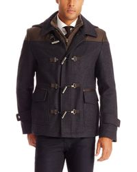 Hugo Boss T-casjen  Italian Virgin Wool and Angora Coat with Faux Leather Trim and Detachable Hood - Lyst