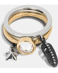 Coach Pave Multi Charm Stackable Ring Set - Lyst