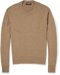 Dolce & Gabbana Crew Neck Camel Sweater - Lyst