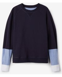 Band Of Outsiders Crewneck Sweatshirt With Woven Sleeves - Lyst