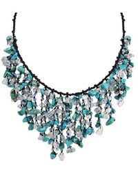Aeravida - Cotton Turquoise Waterfall Cluster Necklace - Lyst
