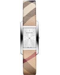 Burberry Ladies Rectangle Watch with Nova Check Leather Strap - Lyst