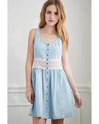 Forever 21 Crochet-Paneled Chambray Dress - Lyst
