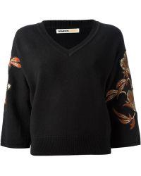 Clements Ribeiro Embroidered Kimono Sweater - Black