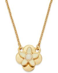 Kate Spade New York Gold-tone Ivory Enamel and Faux Pearl Flower Pendant Necklace - Lyst