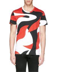 Alexander McQueen Abstract Print Cotton Jersey T-Shirt - Lyst