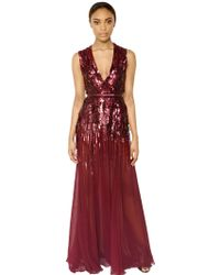Elie Saab Hand Sequined Silk Georgette Dress - Lyst