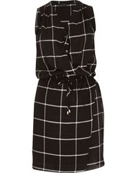 River Island Black Checked Sleeveless Drawstring Dress - Lyst