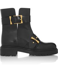 Alexander McQueen Bucked Leather Biker Boots - Lyst