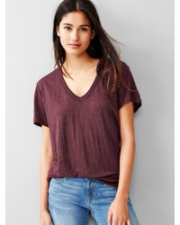 Gap V-Neck Linen Tee - Lyst
