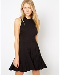 Love High Neck Skater Dress - Black