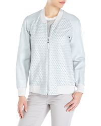 Rebecca Taylor Slate Perforated Leather Jacket - Lyst