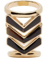 Balmain Gold And Black Chevron Ring - Metallic