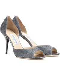 Jimmy Choo Lien Glitter Peep-Toe Pumps - Lyst