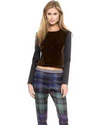 Clover Canyon - Faux Pony Hair Crop Pullover - Brown - Lyst
