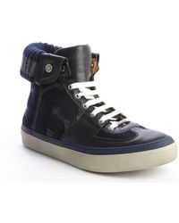 Jimmy Choo Navy And Black Fabric Leather Accent 'Walcott Varsity' High Top Sneakers - Lyst
