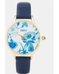 Oasis - Blue Floral Face Watch - Lyst