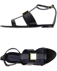 Emanuel Ungaro Embellished Leather Sandals - Black
