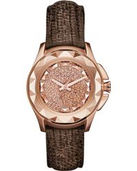 Karl Lagerfeld Womens Karl 7 Brown Lizard-textured Leather Strap Watch 36mm - Lyst