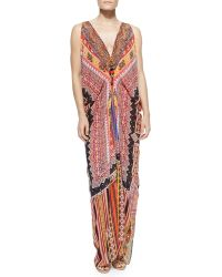 Camilla Draped Printed Dress W Zip Front - Lyst