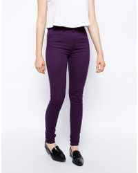 Just Female Stroke Skinny Jeans in Purple