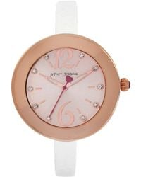 Betsey Johnson Womens White Leather Skinny Strap Watch 38mm -05 - Lyst