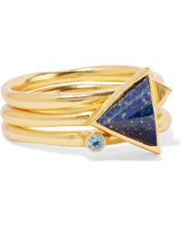 Kevia - Set Of Three Gold-plated, Onyx And Cubic Zirconia Rings - Lyst