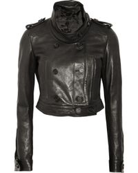 Burberry Prorsum Cropped Leather Biker Jacket - Lyst
