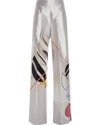Bibhu Mohapatra Bone Gropius Silk Print Pants - Natural