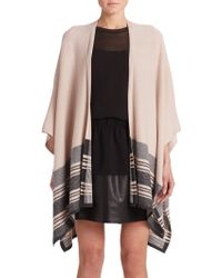 Vince Wool & Cashmere Striped Poncho black - Lyst