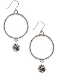 Lucky Brand Silver Tone Hoop Earrings with Crystal Balls - Lyst