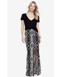 Express - High Waisted Side Slit Woven Maxi Skirt - Aztec - Lyst