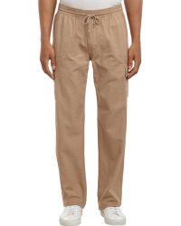 Barneys New York Drawstring-Waist Seersucker Pants beige - Lyst