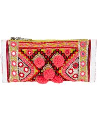 Edie Parker Embroidered Pom-Pom Clutch Bag - Lyst