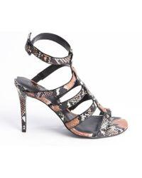 Charles By Charles David Brown and Black Snake Embossed Leather Heel Sandals - Lyst
