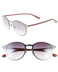Gucci 52Mm Retro Sunglasses - Dark Ruthenium/ Green/ Red green - Lyst