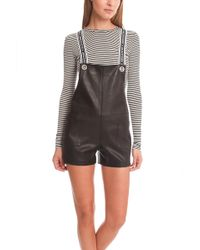 American Retro - Stephanie Leather Short Overalls - Lyst