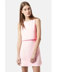 Topshop Sleeveless Curved Hem Overlay Dress pink - Lyst