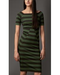 Burberry Square Neck Striped Dress - Lyst