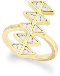House Of Harlow Gold-tone Stone Double Triangle Bar Ring - Lyst