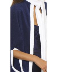 Lisa Marie Fernandez - Short Beach Cape - Navy Terry W/white Trim - Lyst