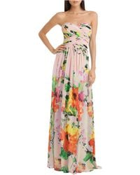 JS Boutique Floral Print Strapless Gown pink - Lyst