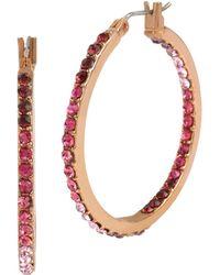 Betsey Johnson Pave Hoop Earrings - Pink