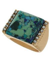 Topshop Square Semi Precious And Stone Ring blue - Lyst