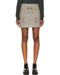 Stella McCartney Black and Neon Rope Embroidered Mini Skirt - Lyst