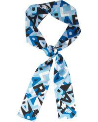 Karl Lagerfeld Printed Silktwill Headscarf - Blue